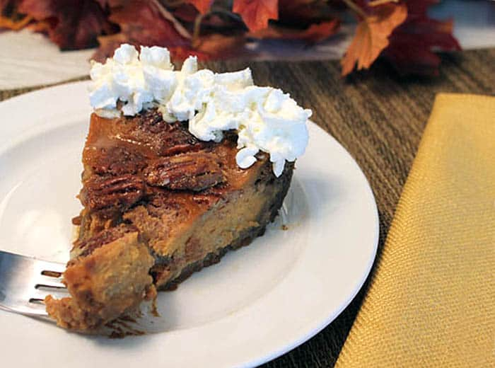 Pumpkin Pecan Pie slice | 2 Cookin Mamas