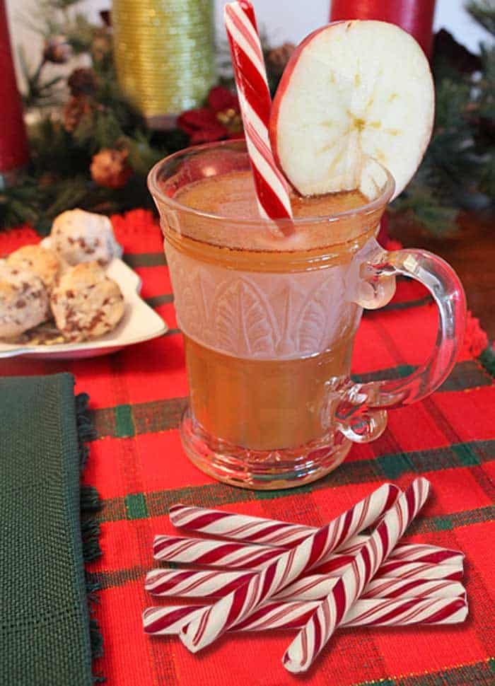 Spiked Hot Apple Cider w peppermint sticks | 2 Cookin Mamas