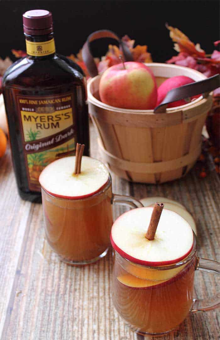 Spiked Apple Cider with apple tops | 2 Cookin Mamas