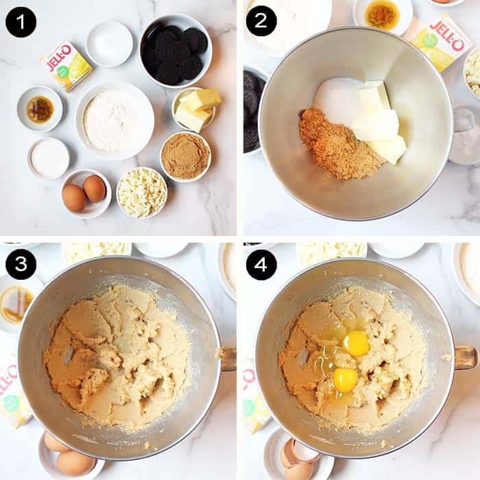Steps 1-4 with ingredients for Oreo cookies through creaming dough