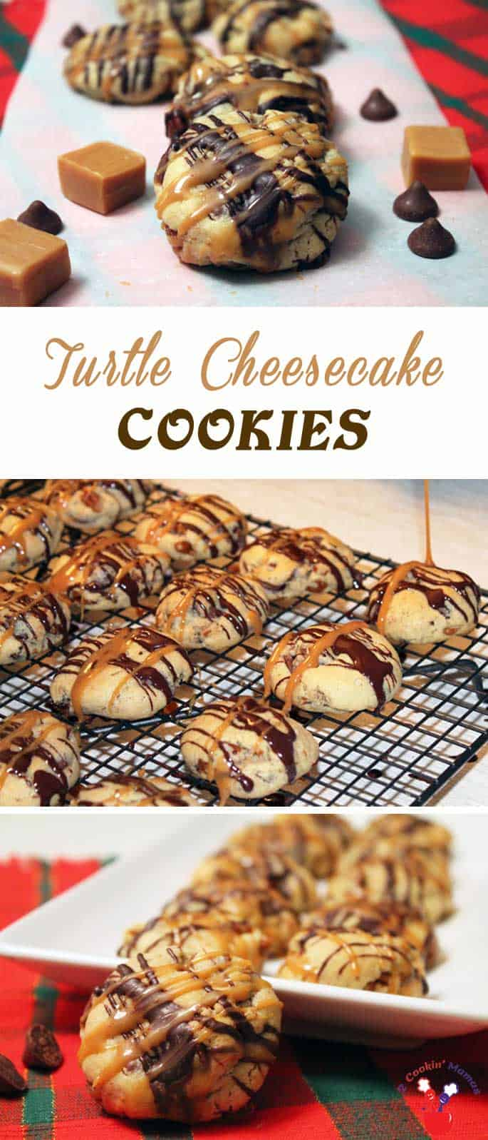 Rich & delicious turtle cheesecake cookies baked with caramel filled chocolate pieces & pecans then drizzled with chocolate & gooey caramel. #cookies #Christmascookies #caramel #cheesecakecookies