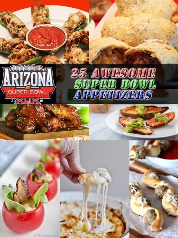 Kick off game day with 1, 2 or 3 of these yummy Super Bowl appetizers from around the web. Choose from dips, wings, sliders, poppers, potstickers and more. #superbowlappetizers #footballfood #tailgatingappetizers