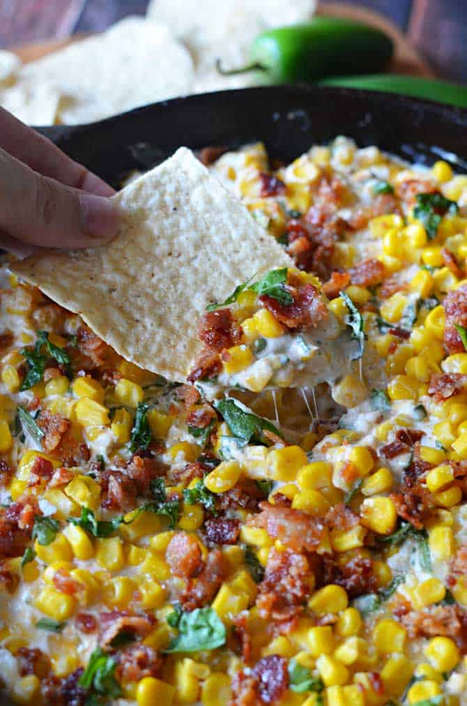 Bacon Basil Jalapeno Corn Dip by Host the Toast
