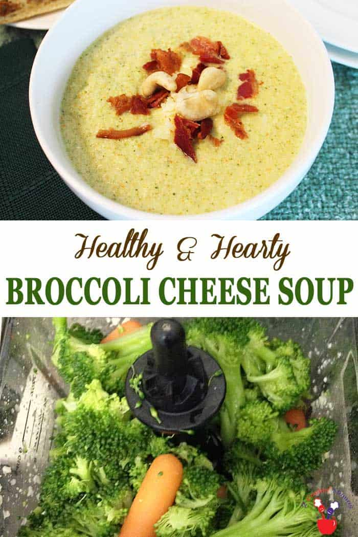 Broccoli Cheese Soup | 2 Cookin Mamas Warm up with this healthy broccoli cheese soup filled with broccoli, carrots, cashews and low-fat cheddar cheese. Perfect for cold winter days. #soup #healthyeating #broccoli