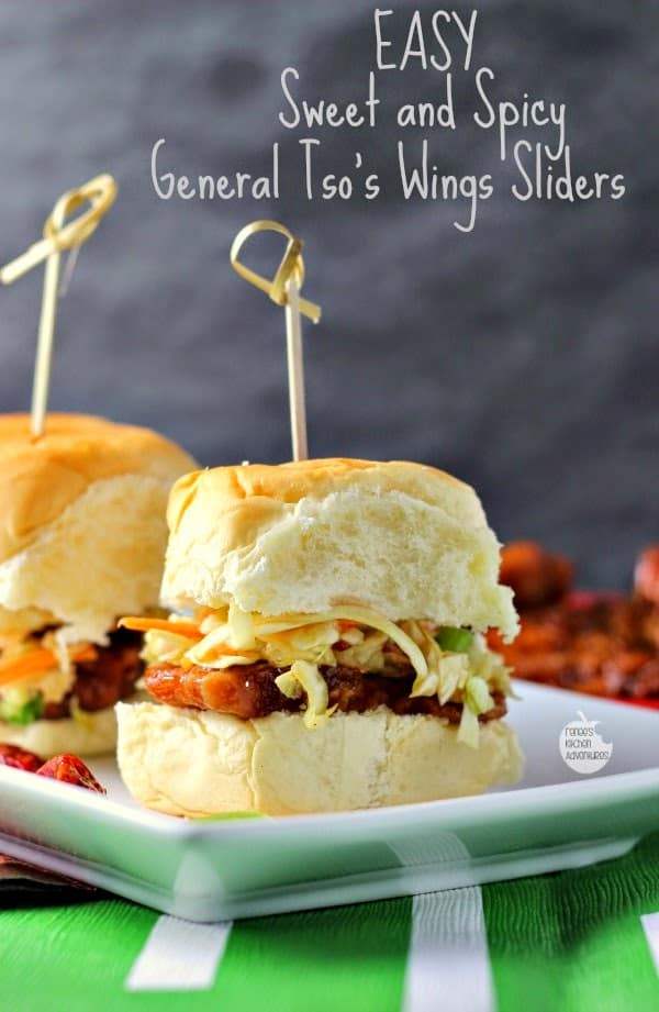 Easy Sweet and Spicy General Tso's Wings Sliders by Renees Kitchen Adventures