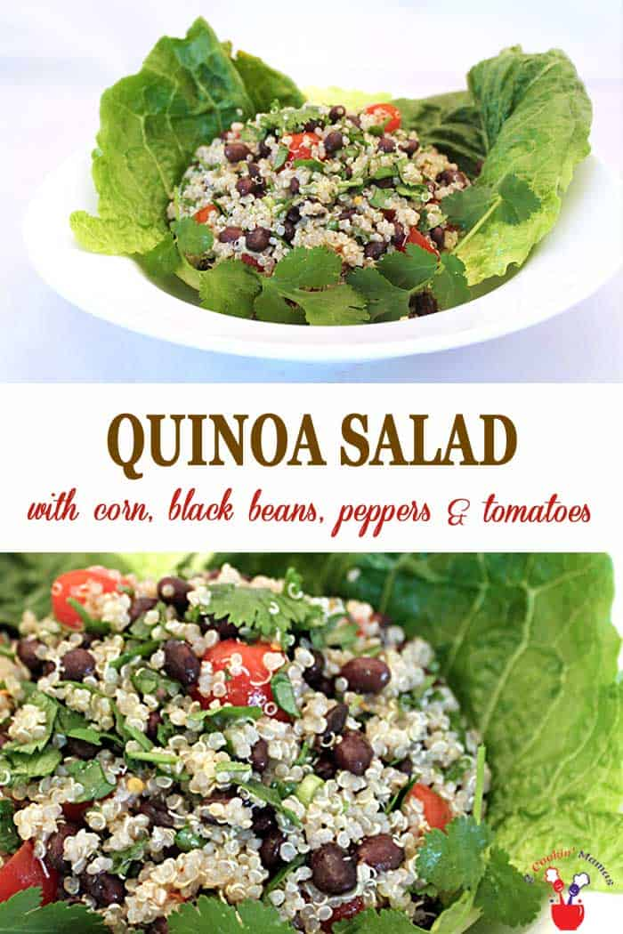 Hearty Quinoa Salad | 2 Cookin Mamas This healthy quinoa salad goes together quick and easy. Mix with corn, black beans, bell peppers and tomatoes then kick it up with chili powder and cayenne pepper to give you a meal packed with protein and 1/3 of your vegetable RDA. #salad #healthyeating #quinoa #blackbeans