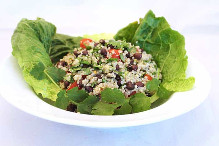 Hearty Quinoa Salad in bowl   2 Cookin Mamas