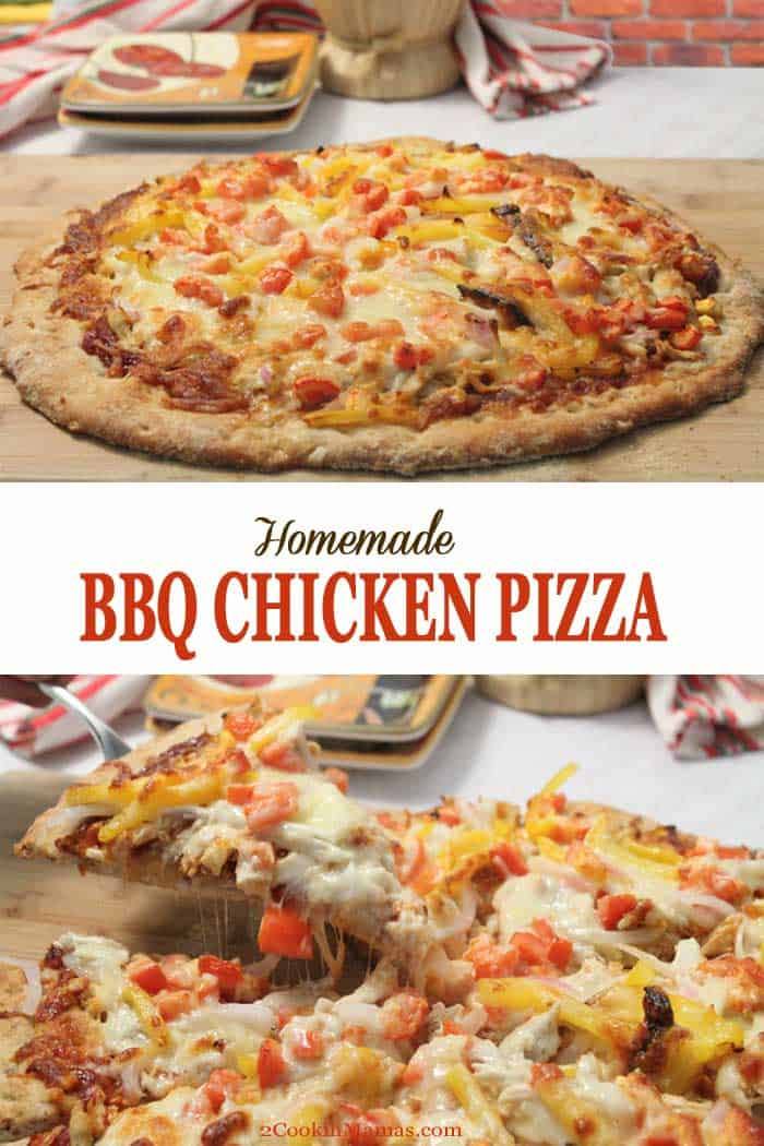 Homemade BBQ Chicken Pizza   2 Cookin Mamas Homemade pizza is sooo easy & you can make it just the way you like it. Our BBQ Chicken Pizza is chock full of chicken, onions, cheese & your favorite BBQ sauce. #pizza #homemadepizza #bbqchicken #chicken #dinner #recipe