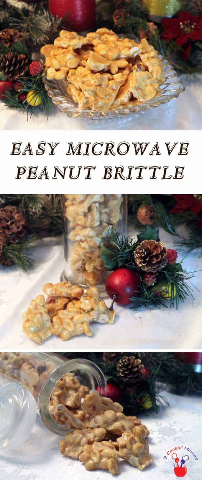 Microwave Peanut Brittle pin | 2 Cookin Mamas Microwave peanut brittle is easy to make & always a big hit. All you need is 10 minutes & a microwave & you'll have the perfect party snack or holiday gift. #recipe