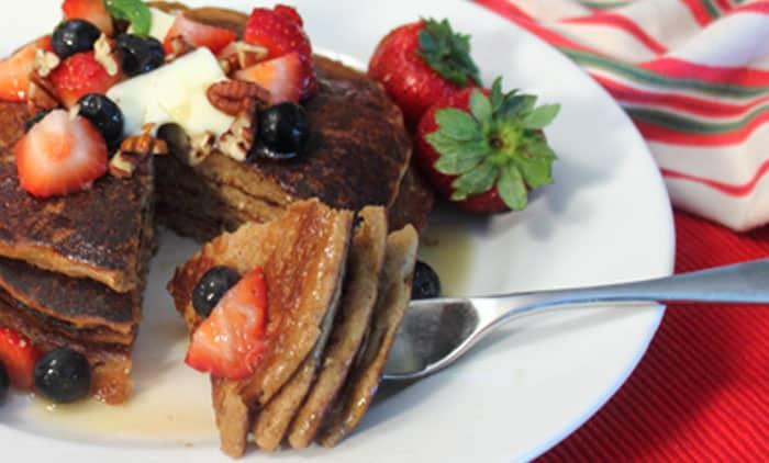 Protein Pancakes closeup | 2 Cookin Mamas