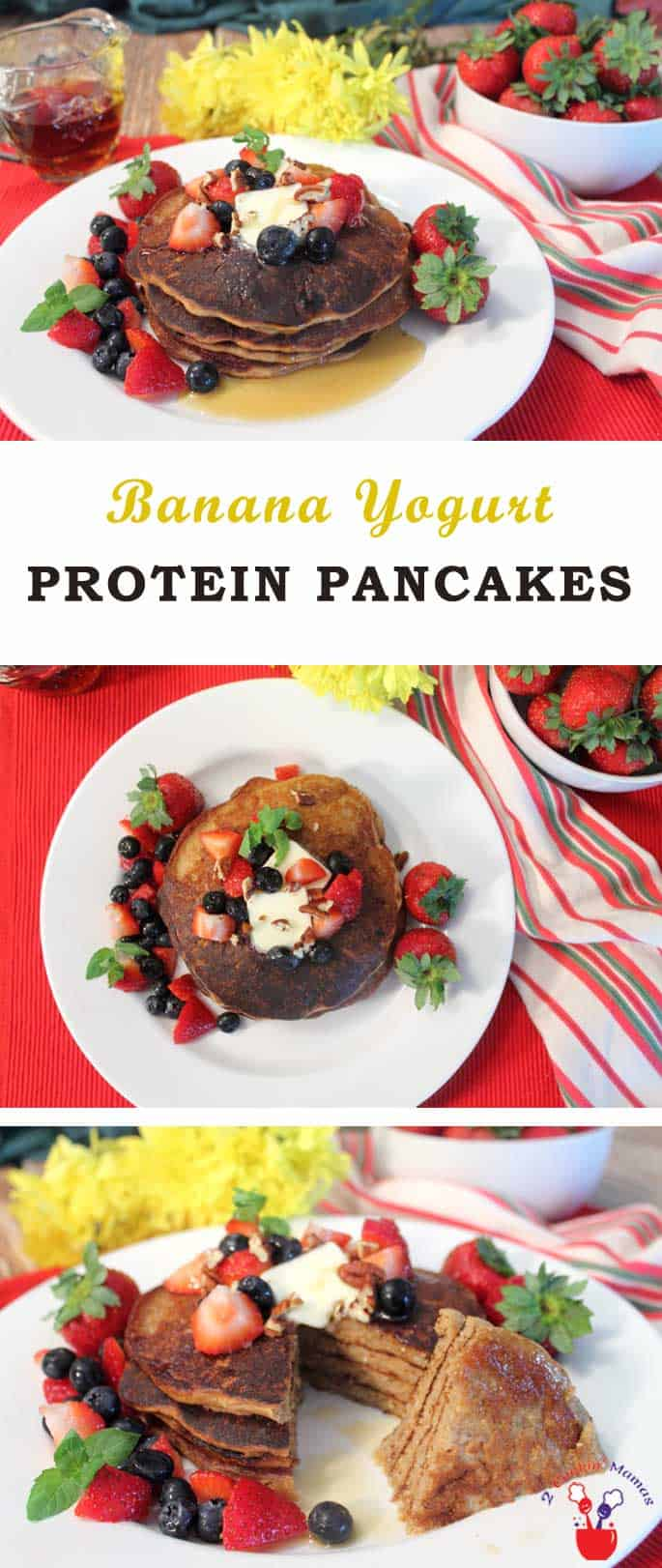 Protein Pancakes | 2 Cookin Mamas Start your day off with healthy high protein pancakes. They are packed full of protein, calcium, useful carbs & only a little sugar. Make the dry mix ahead of time & add liquid ingredients when you're ready for a fast start in the morning. #breakfast #pancakes #healthy #proteinpowder #chiaseeds #banana #yogurt #recipe