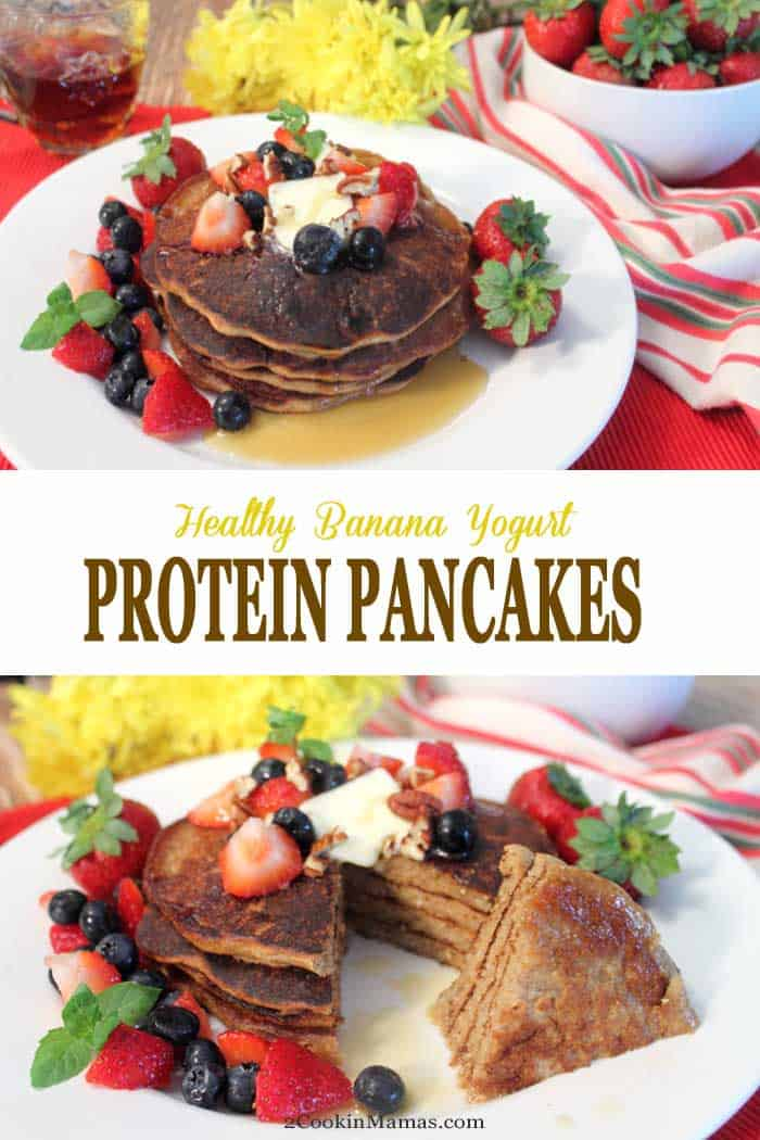 Start your day off with healthy high protein pancakes. They are packed full of protein, calcium, useful carbs & only a little sugar. Make the dry mix ahead of time & add liquid ingredients when you're ready for a fast start in the morning.  #breakfast #pancakes #healthy #proteinpowder #chiaseeds #banana #yogurt #recipe