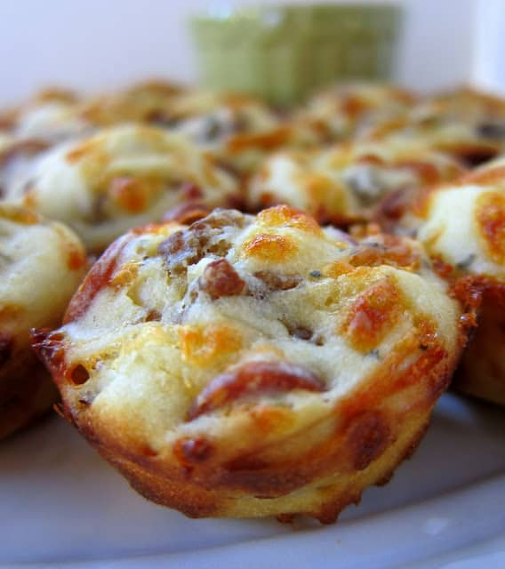 Sausage and Pepperoni Pizza Puffs by Plain Chicken