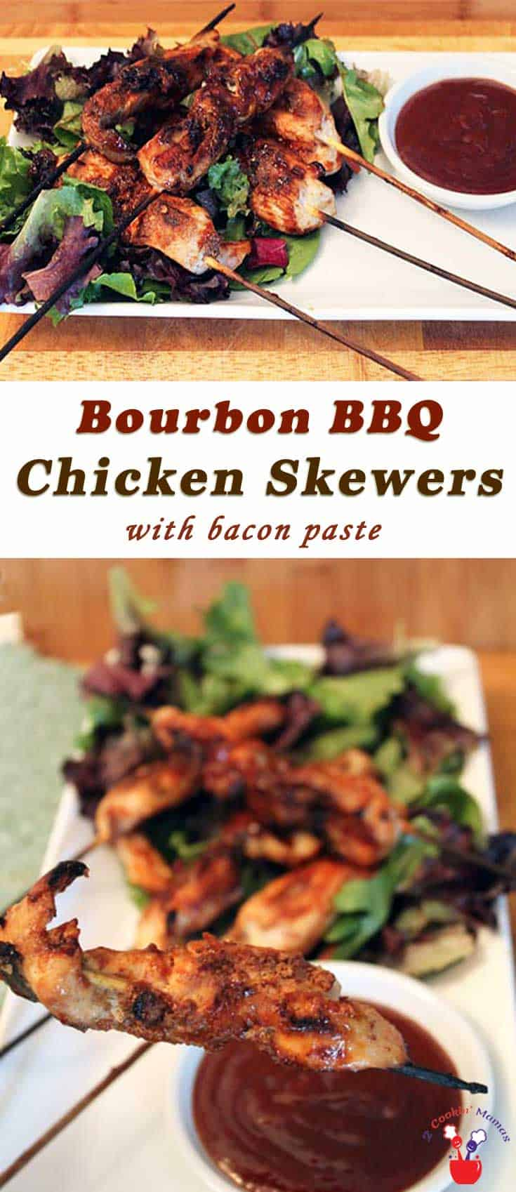 Grilled chicken is brought to a whole new level when smeared with bacon paste & served with a side of  delicious bourbon BBQ sauce. Bourbon BBQ Chicken Skewers recipe. #bacon #grilledchicken #bourbon #dinner #appetizer #BBQ