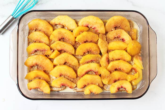 Sprinkle peaches with brown sugar and cinnamon.