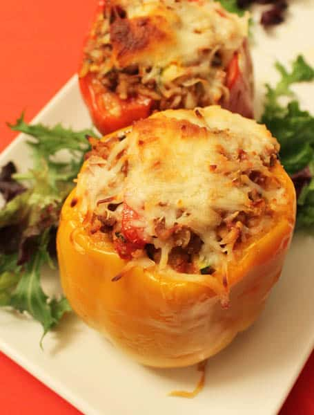 Lasagna Stuffed Pepper closeup | 2CookinMamas