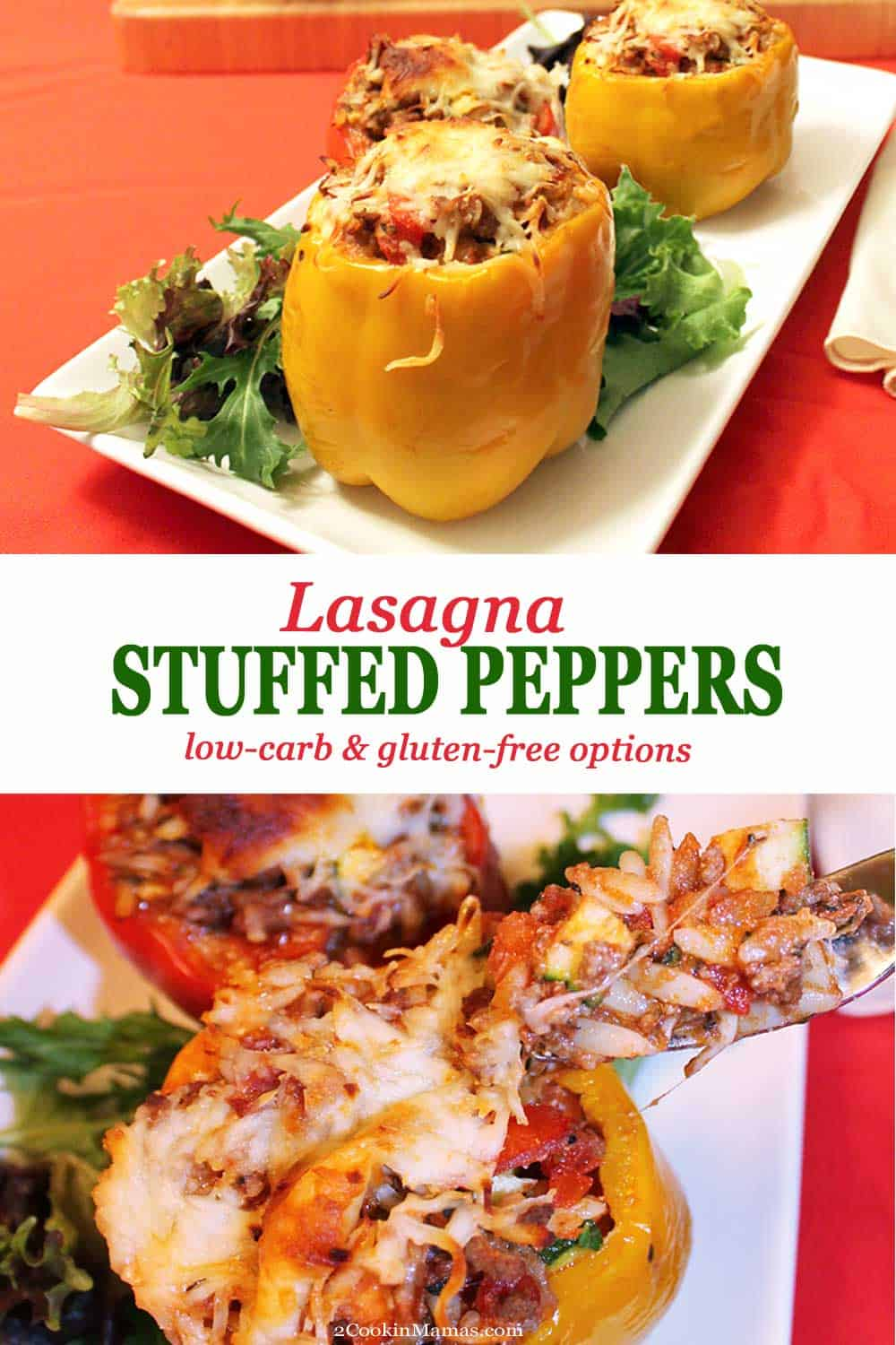Lasagna Stuffed Peppers | 2 Cookin Mamas Italian-style stuffed peppers are like a low-carb lasagna recipe prepared in their own dish. A delicious mix of ground beef, orzo & tomato sauce, stuffed into tri-color peppers, and ready in 45! #stuffedpeppers #lasagna #lowcarb #groundbeef #dinner #recipe #peppers #mozzarella #orzo