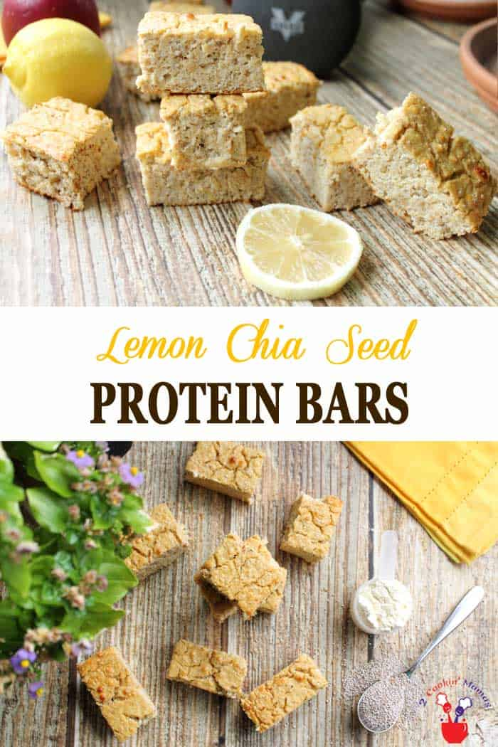 Lemon Chia Seed Protein Bars | 2 Cookin Mamas These easy to make lemon chia seed protein bars have plenty of delicious lemony taste minus the high fat and sugar. They taste like a moist & light cake but don't let that fool you - they're actually good for you! Have as a grab-n-go breakfast, a boost after your workout or a late afternoon pick-me-up. #proteinbars #lemon #chiaseeds #healthysnack