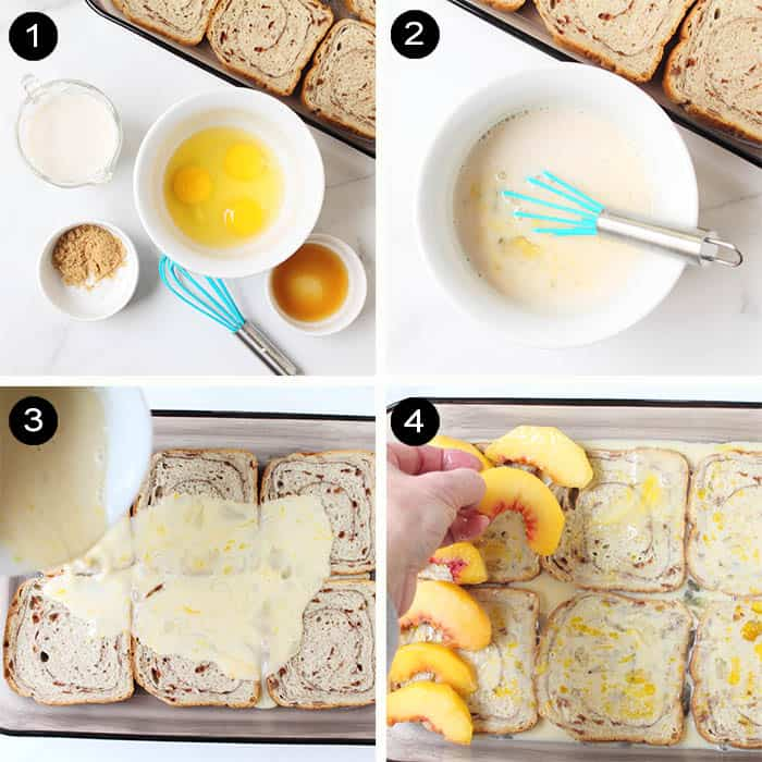 Steps to make overnight french toast.