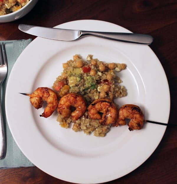 Grilled Cajun Shrimp with Quinoa Salad plated | 2CookinMamas