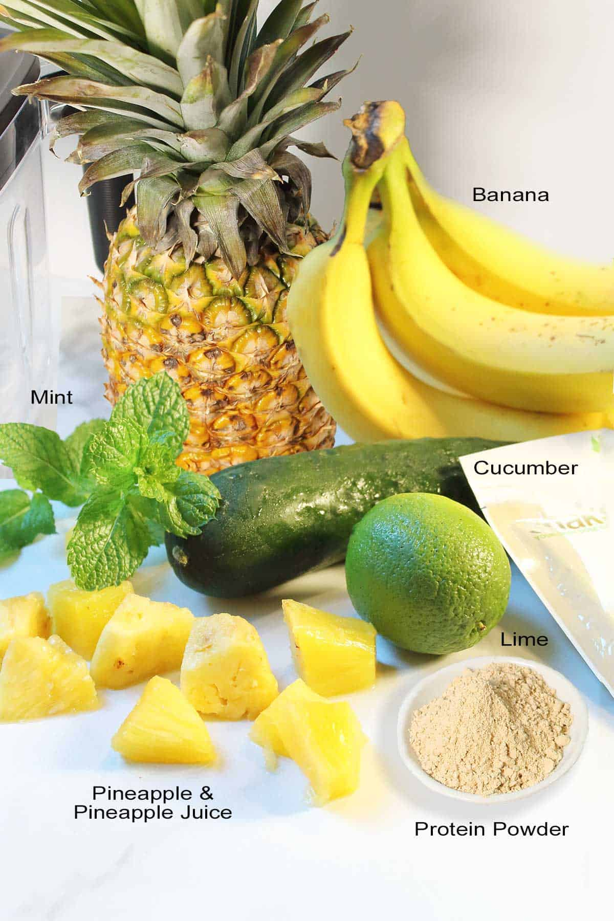 Ingredients for Banana Pineapple Smoothie.