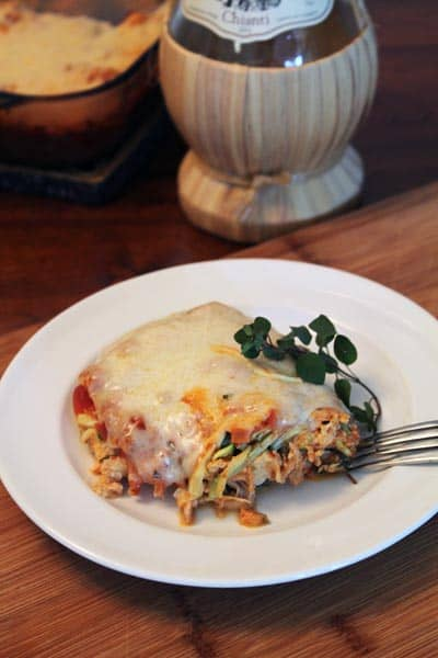 Italian Chicken Noodle Casserole plated | 2CookinMamas