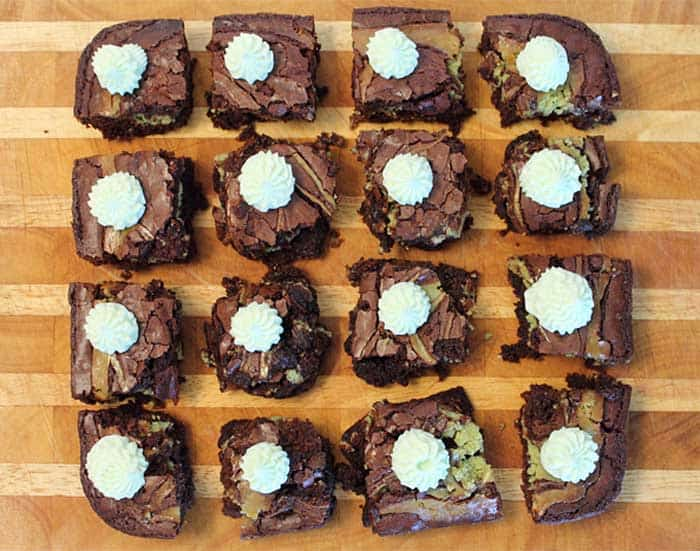 Key Lime Cheesecake Brownies individually frosted | 2 Cookin Mamas