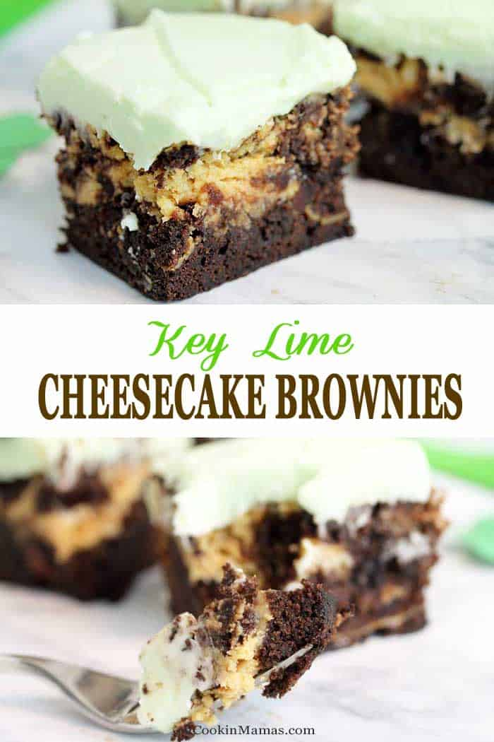 Key Lime Cheesecake Brownies main 2 | 2 Cookin Mamas These deliciously fudgy, moist Key Lime Brownies are swirled with rich key lime cheesecake filling and topped with cream cheese frosting. What's not to love! #brownies #creamcheesefrosting #keylime #recipe #cheesecake