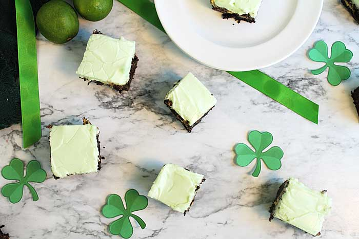 Key Lime Cheesecake Brownies overhead | 2 Cookin Mamas
