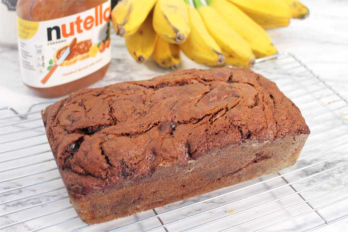 Nutella Banana Bread cooling