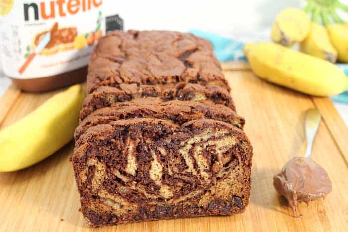 Nutella Banana Bread closeup sliced