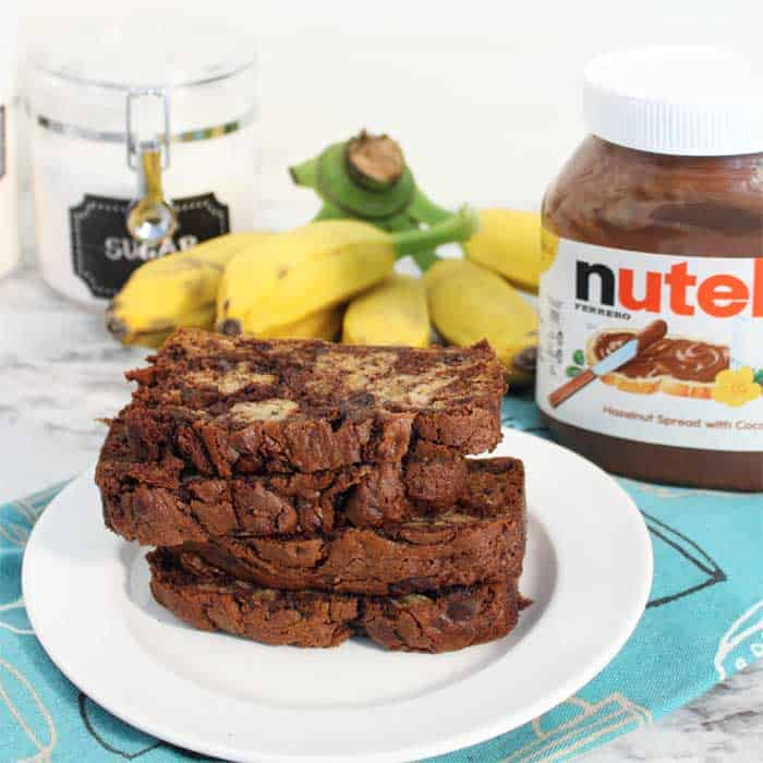 Nutella Banana Bread plated square