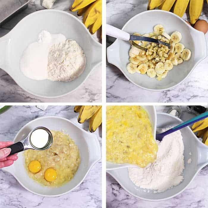 Nutella Banana Bread steps 1-4