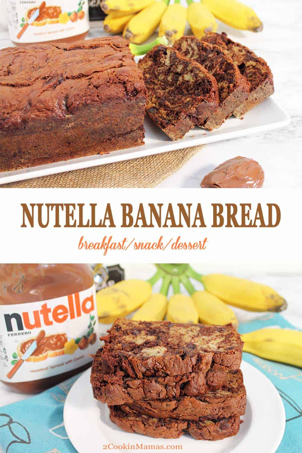 Nutella Banana Bread | 2 Cookin Mamas A sweet & delicious banana bread with a surprise inside - Nutella! This Nutella Banana Bread has all the moist and delicious taste of a banana bread with loads of everyone's favorite spread swirled throughout. Serve it as a special breakfast treat, a snack or top it with a chocolate glaze for a fabulous dessert.#bananabread #quickbread #bananas #nutella #breakfast #dessert #snack #recipe