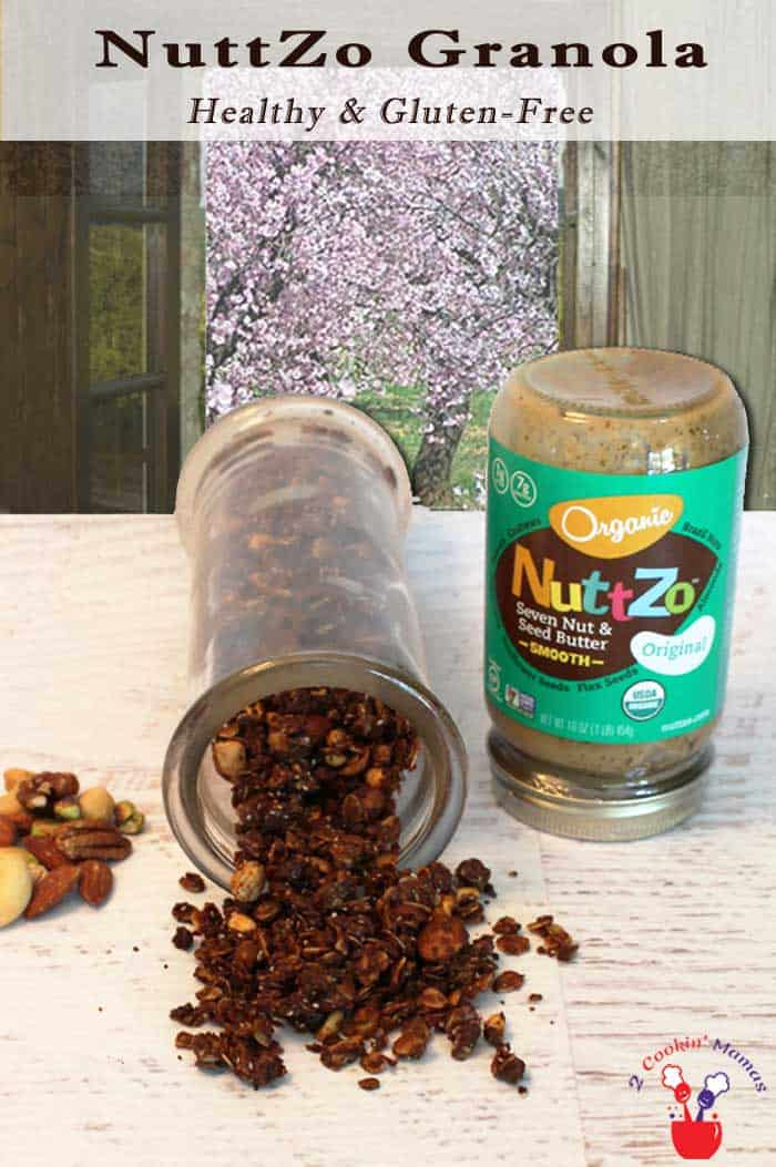 Easy homemade NuttZo Nut Butter Granola is super delicious, gluten-free & healthy too! Sweetened only with honey, it makes the perfect breakfast or snack. #granola #glutenfreesnack #breakfast #nuttzo #nutbutter