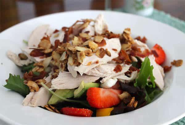 Strawberry Chicken Salad with Avocado closeup | 2CookinMamas