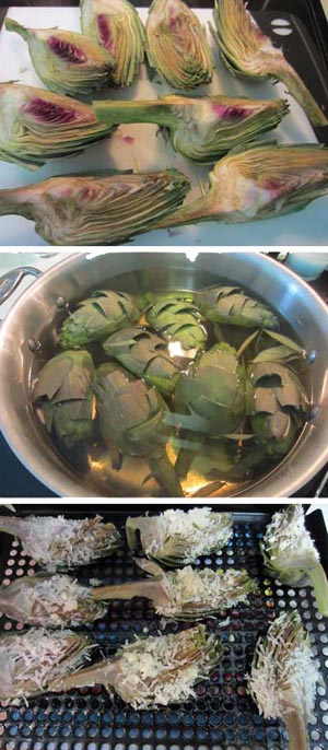 grilled artichoke cooking steps | 2CookinMamas