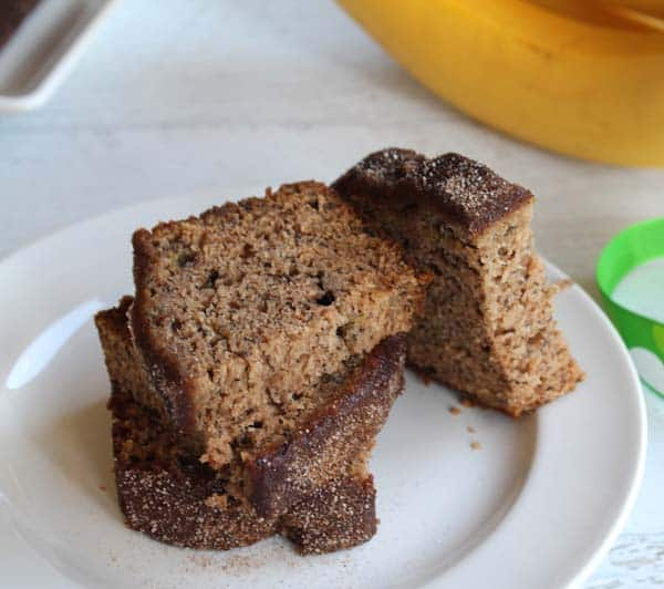 Churro Banana Bread closeup | 2CookinMamas