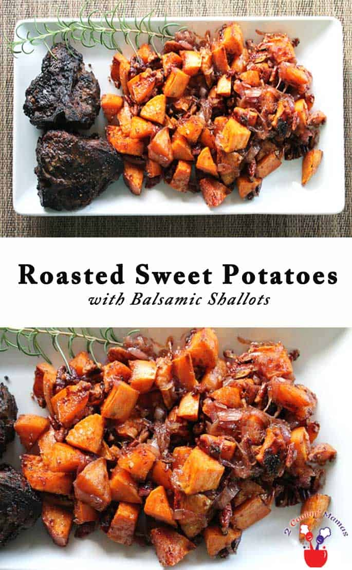 Roasted sweet potatoes are baked with a hint of maple sweetness then tossed with tangy caramelized shallots for a deliciously crispy glazed side dish. #sweetpotatoes #caramelizedshallots #sidedish #roastedsweetpotatoes
