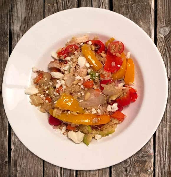 Roasted Vegetable Salad with Chicken and Quinoa plated | 2CookinMamas