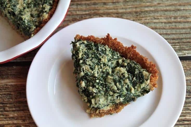 Spinach Pie with Quinoa Crust close up | 2 Cookin Mamas