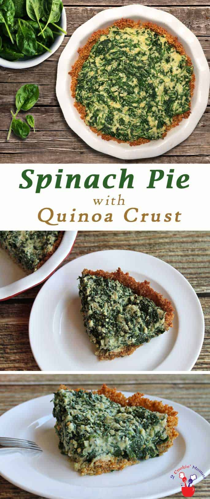 A delicious gluten-free spinach pie that even your non gluten-free friends will love! It's a healthy side dish set into a tasty, crunchy quinoa crust. #glutenfree #sidedish #spinach #quinoacrust
