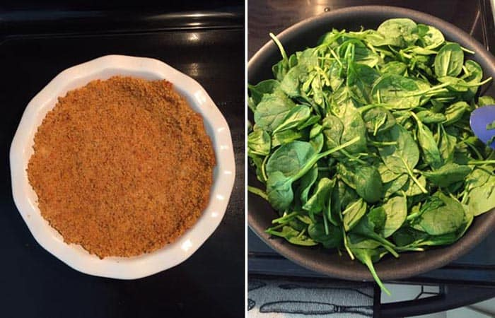 Quinoa crust baked and spinach in skillet.