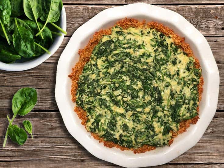 Spinach Pie with Quinoa Crust whole | 2 Cookin Mamas