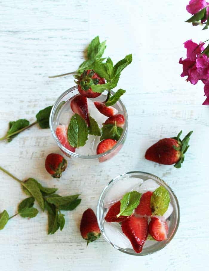 Strawberry Mint Water overhead | 2 Cookin Mamas