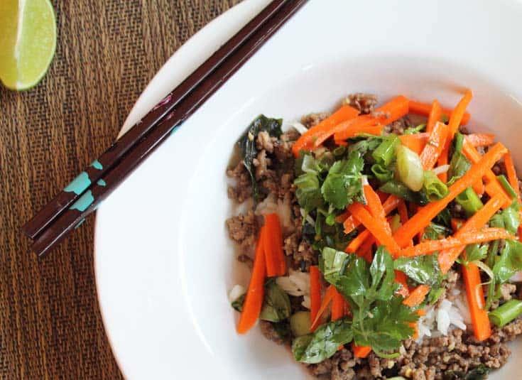 Thai Beef with Carrot Basil Salad closeup | 2 Cookin Mamas
