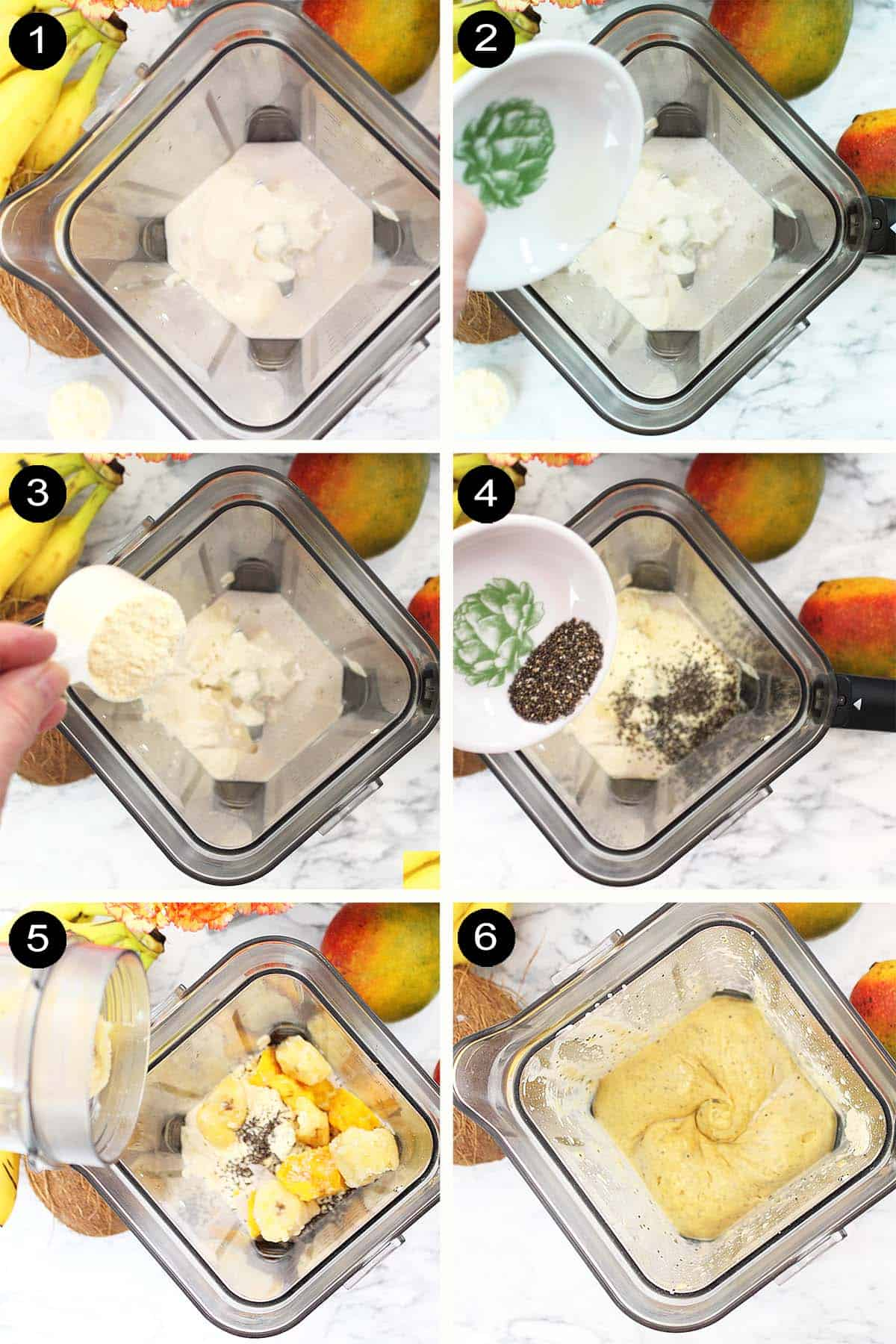 Prep steps for mango smoothie.
