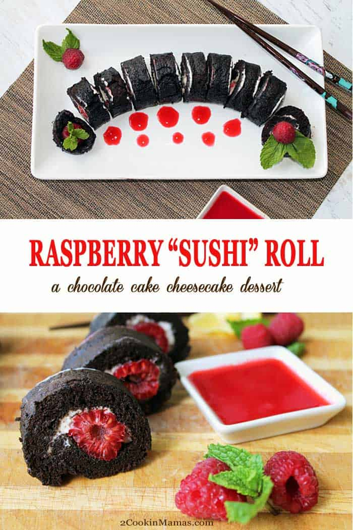 Raspberry Sushi Roll pin 1 | 2 Cookin Mamas A sweet, chocolaty dessert that looks like a sushi roll! An easy to make, light as air, chocolate cake is rolled around a creamy cheesecake filling then stuffed with delicious raspberries. The perfect dessert for Valentine's Day or an elegant dessert for a party. #dessert #chocolatecake #chocolate #cheesecake #raspberries #recipe #fundessert #valentinesday #partyfood