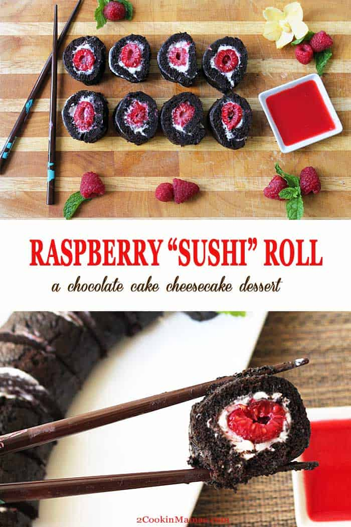 "Raspberry Sushi Roll pin 2 | 2 Cookin Mamas Have some fun at your next get-together with this sweet, chocolaty ""sushi"" roll dessert. A light & fluffy chocolate cake surrounds a creamy raspberry and cheesecake filling. Serve with raspberry sauce and chopsticks for a sure party winner. #recipe #dessert #cake #chocolate #raspberry #cheesecake #valentinesday #partyfood"