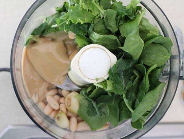 White Bean Garlic Kale Hummus prep